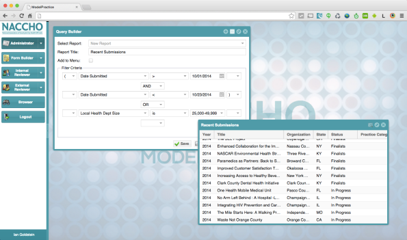 The Query Builder enables admins to create and save custom reports.